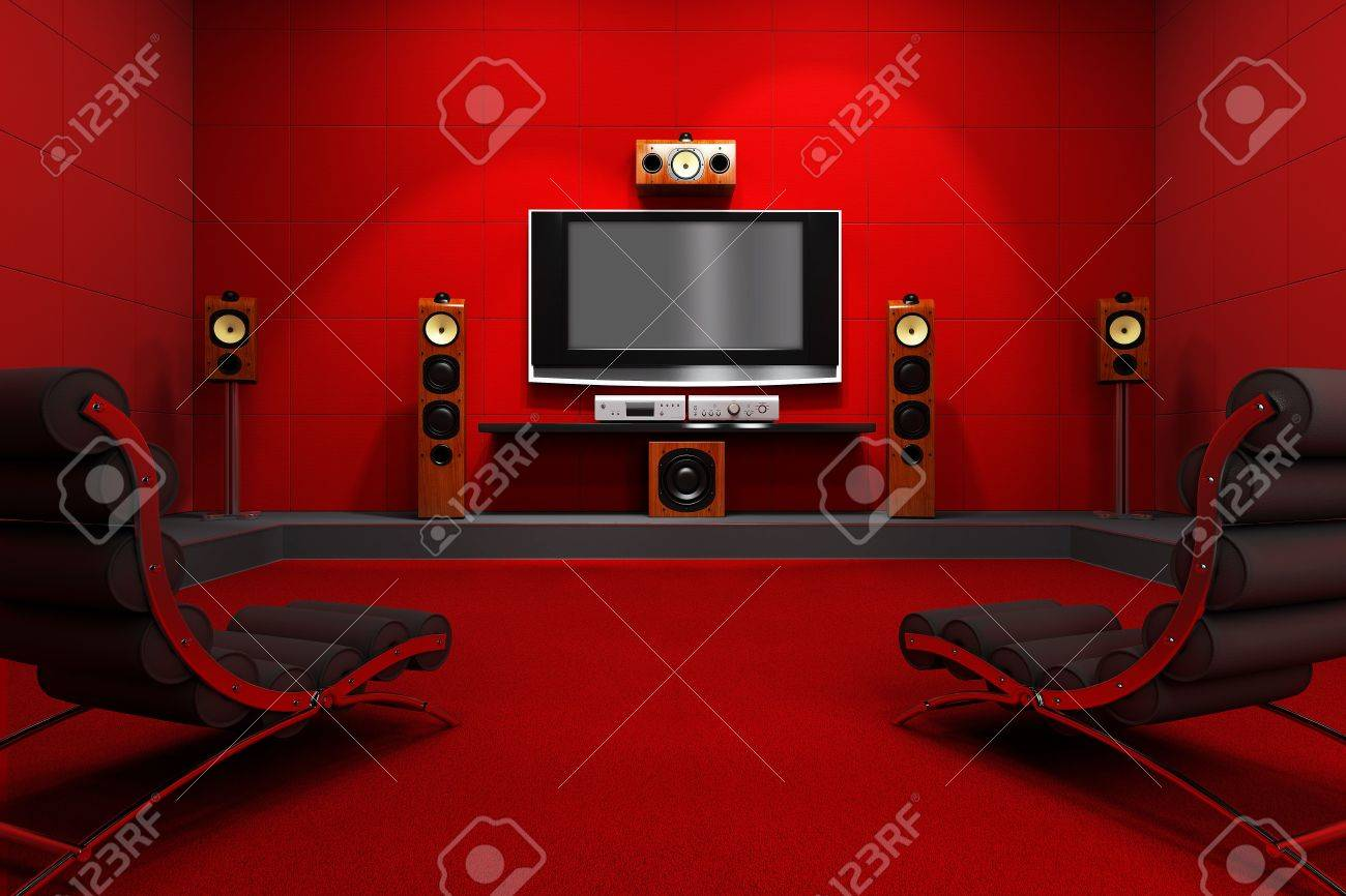 Home Theater Room A Contemporary Home Theater Room Furnished With Modern Furniture