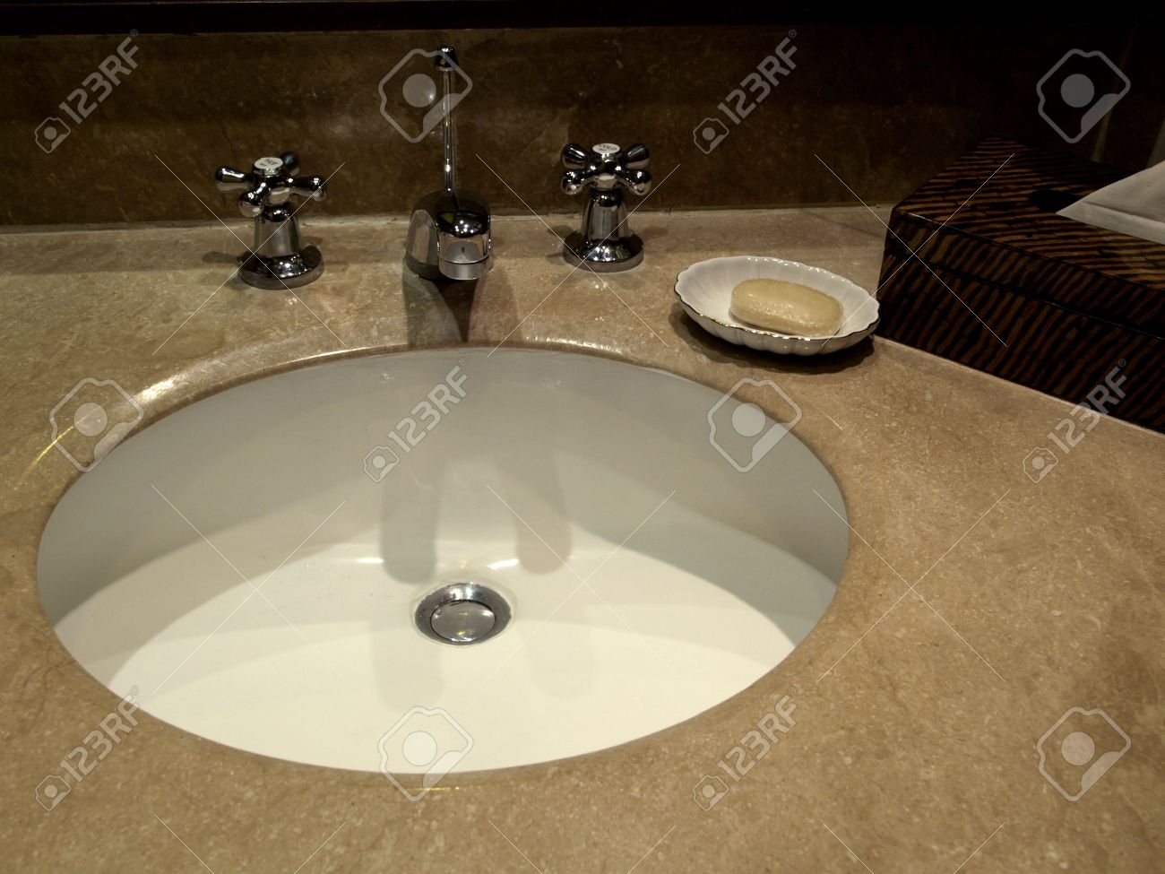Marble Basin Wash Basin Tap And Marble Surface On Luxury Bathroom