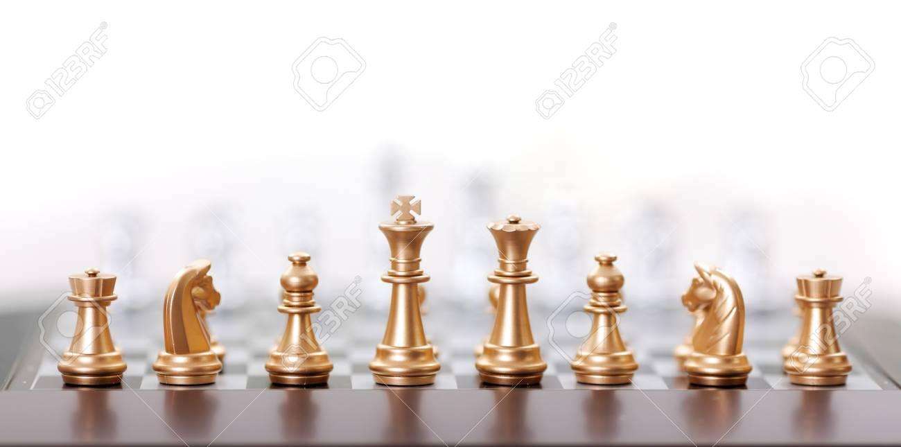 Gold Chess Pieces Golden Chess Pieces In Starting Position