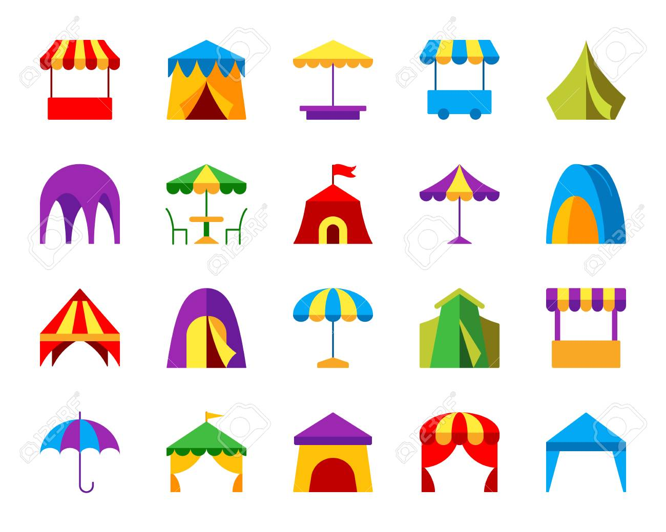 White Umbrella Marquees Tent Flat Icons Set Web Sign Kit Of Umbrella Marquee Pictogram