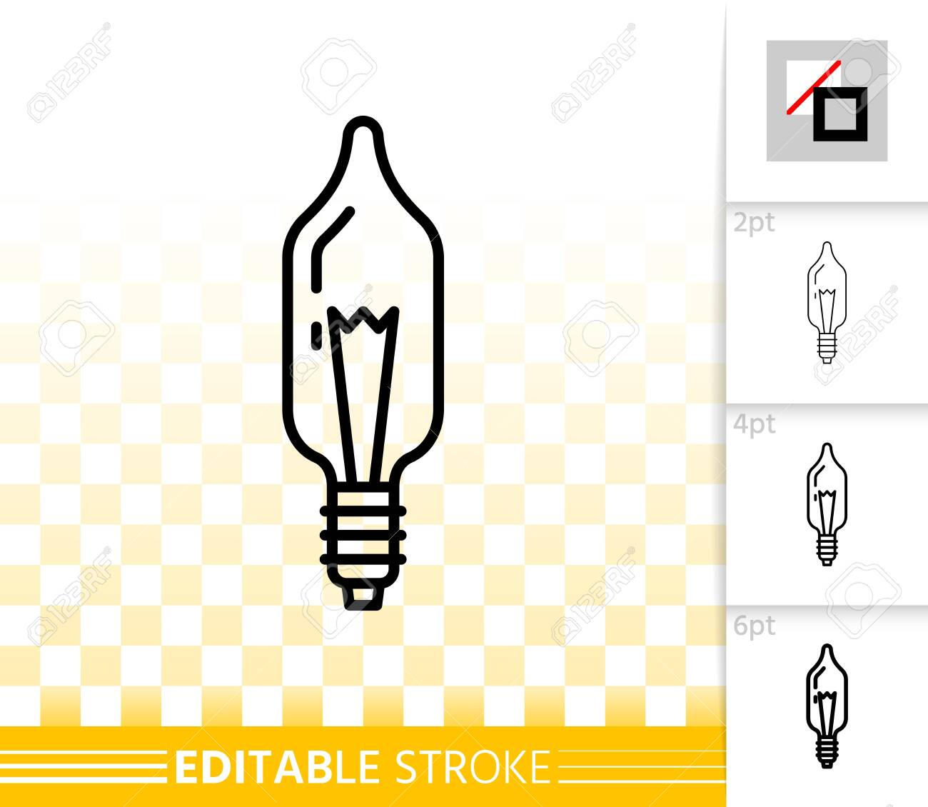 Glass Lamp Vector Light Bulb Thin Line Icon Outline Web Sign Of Glass Lamp Lightbulb