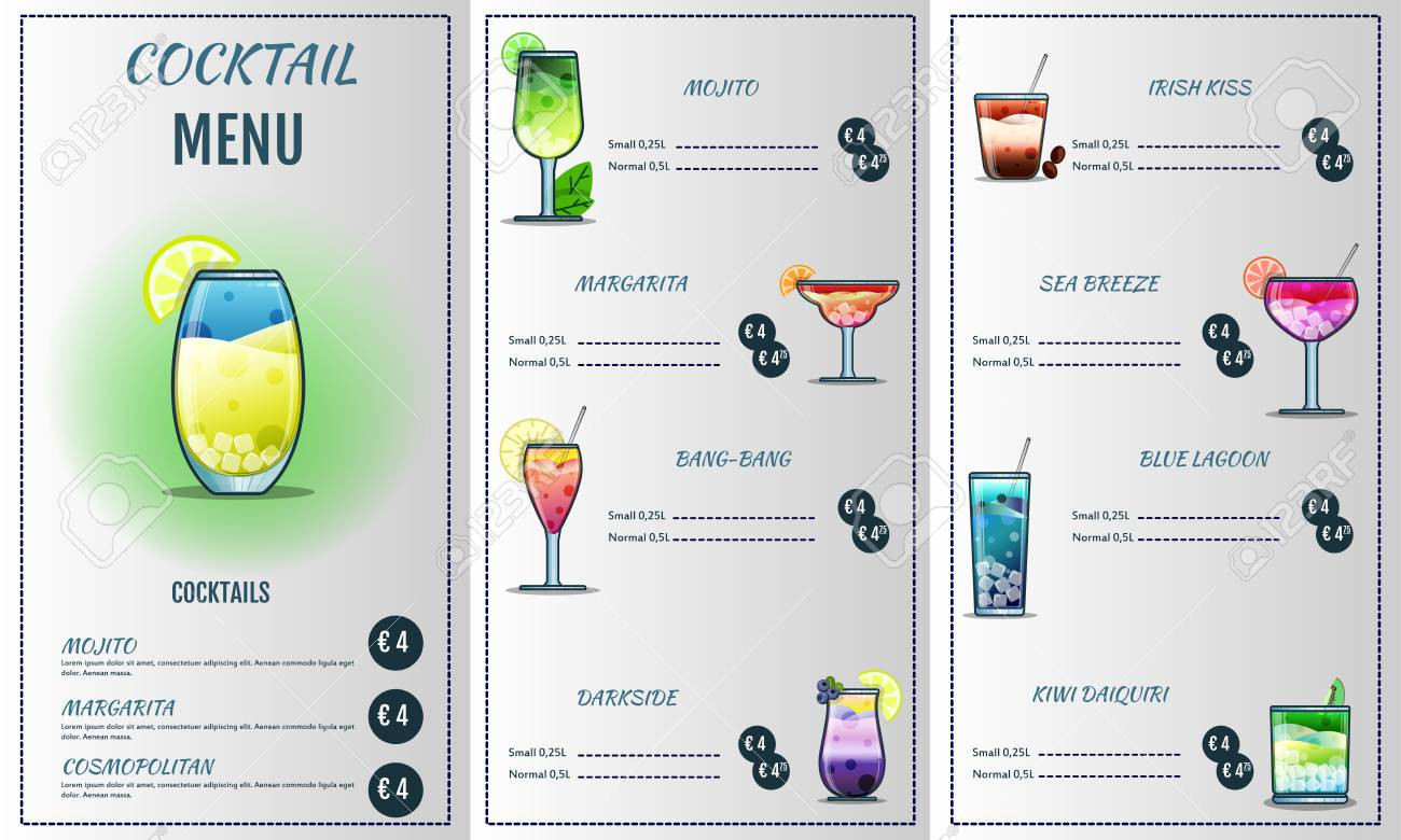 Cocktail Liste Modèle De Conception De Menu Cocktail Illustration De Couverture De Liste Cocktail Graphique Vectoriel Menu Des Boissons
