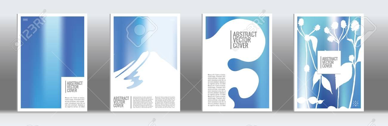 Blue Cover Set Minimal Flyer On Light Background Liquid Design - retro brochure template