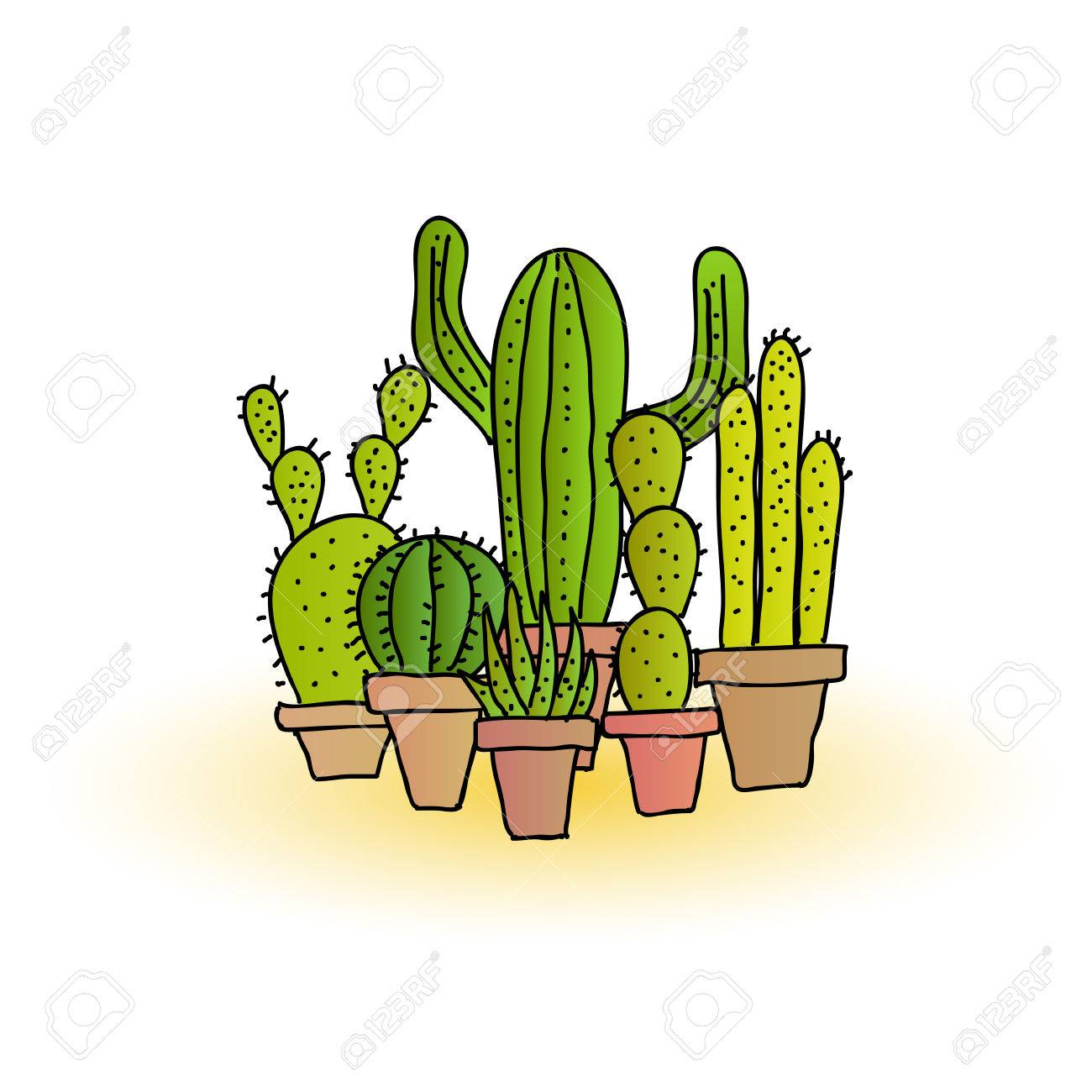 Cactus Planting Pots Collection Of Hand Drawn Cartoon Cacti Plants In Plant Pots