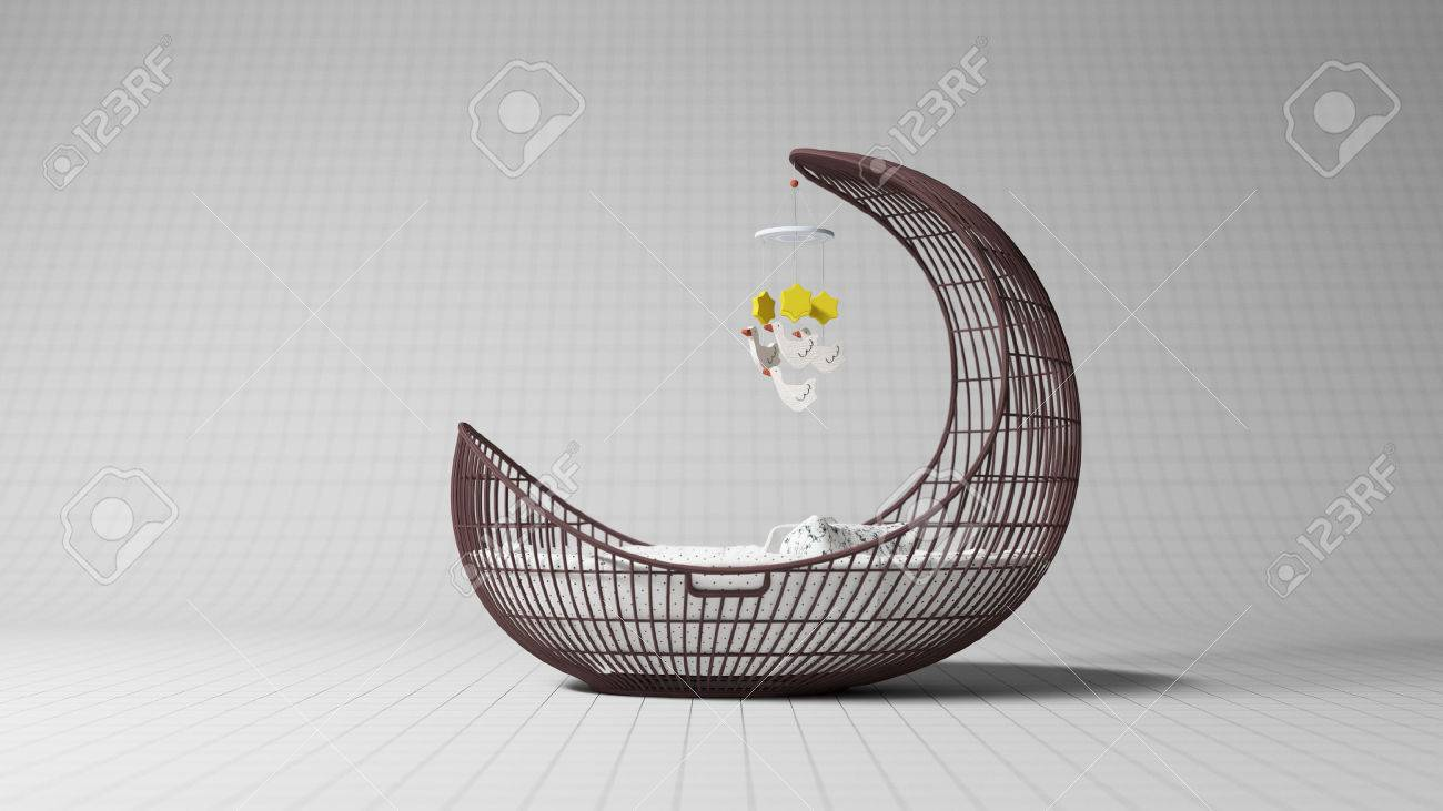 Designer Babybett Stock Photo