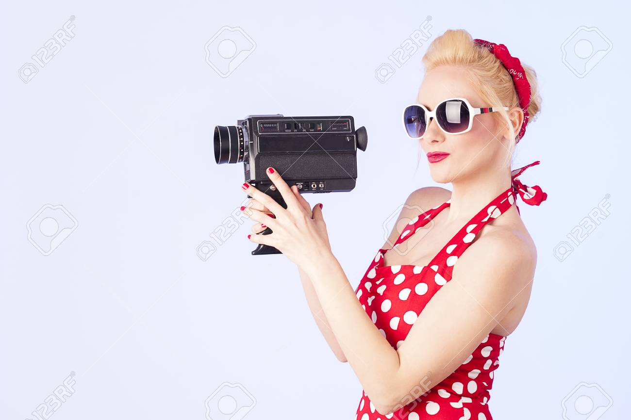 Vintage 8 Pin Up Girl Holding Vintage 8 Mm Camera