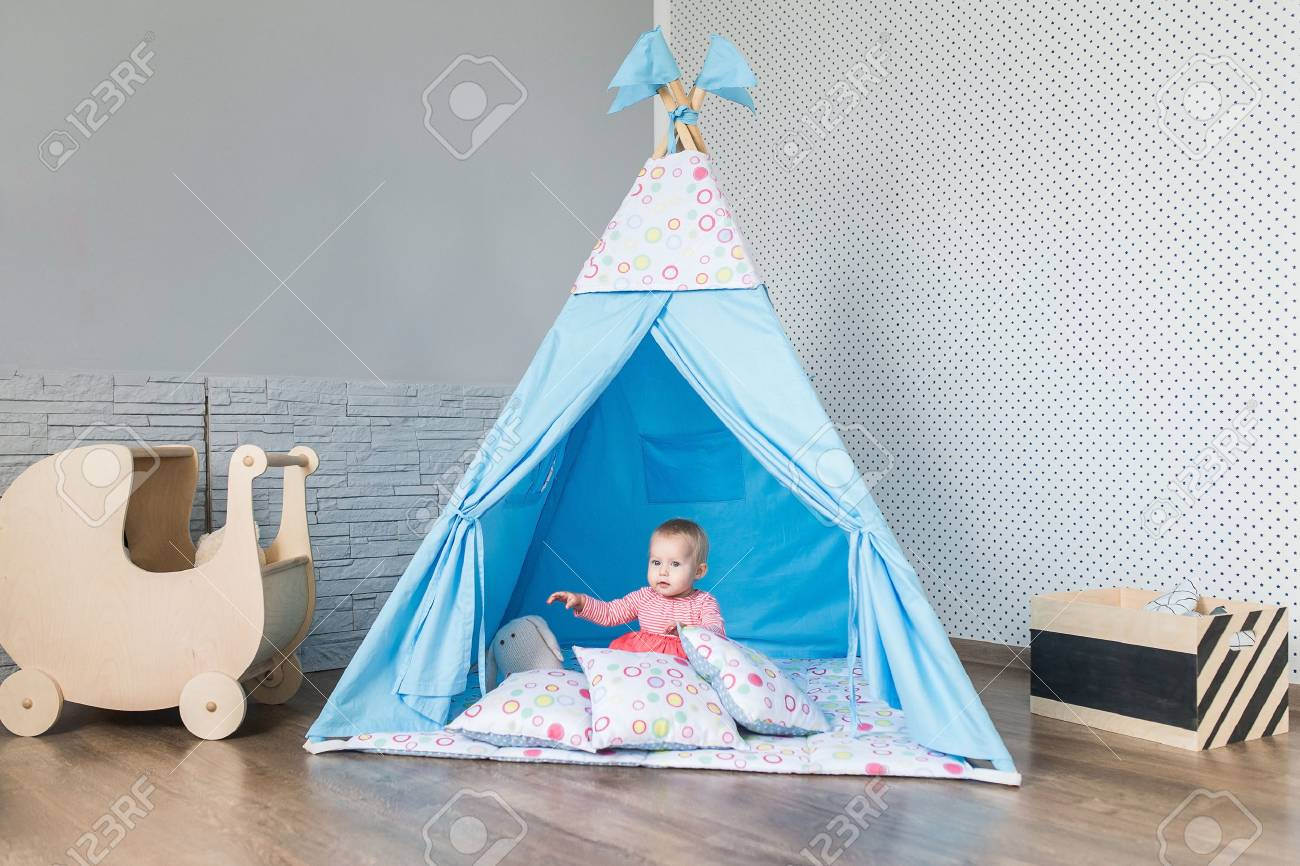 Teepee Kids Child Preschooler Kids Playing At Home Indoors With A Teepee