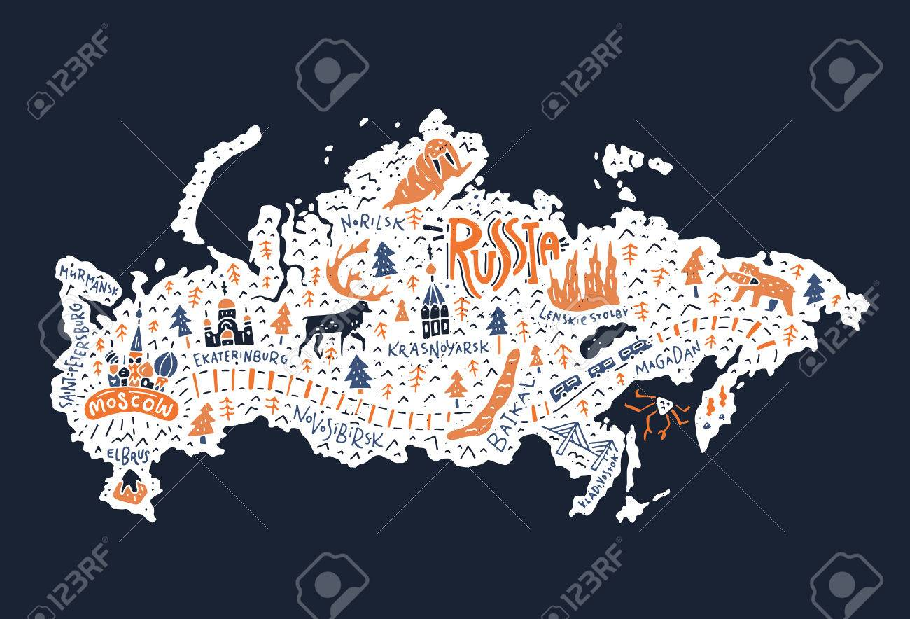 Travel Blog With Map Cartoon Map Of Russia Handdrawn Illustration With All Main Tourist