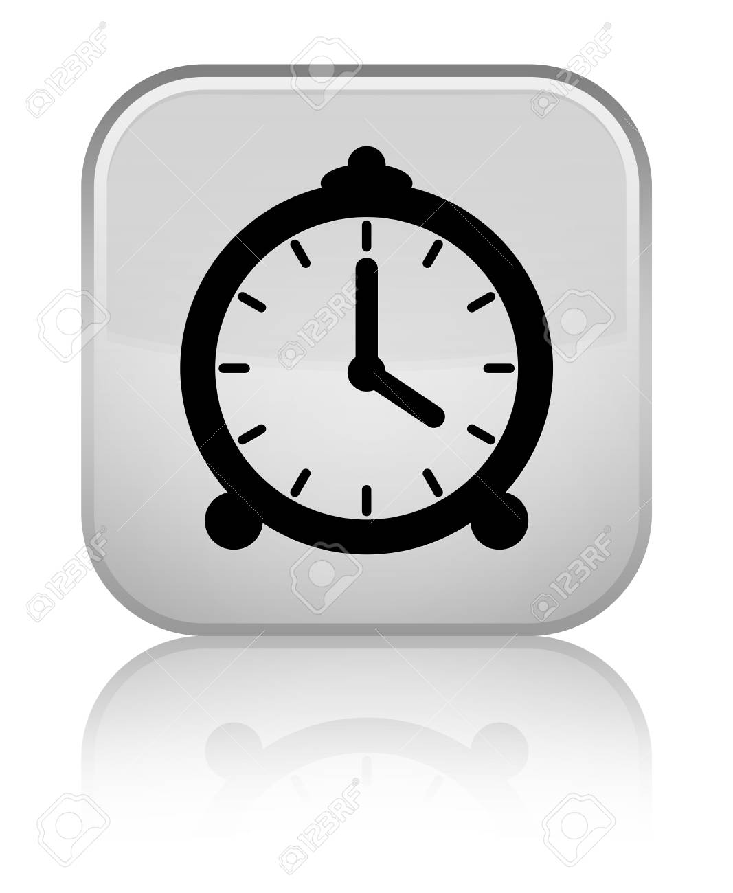 Special Clock Alarm Clock Icon Isolated On Special White Square Button Reflected