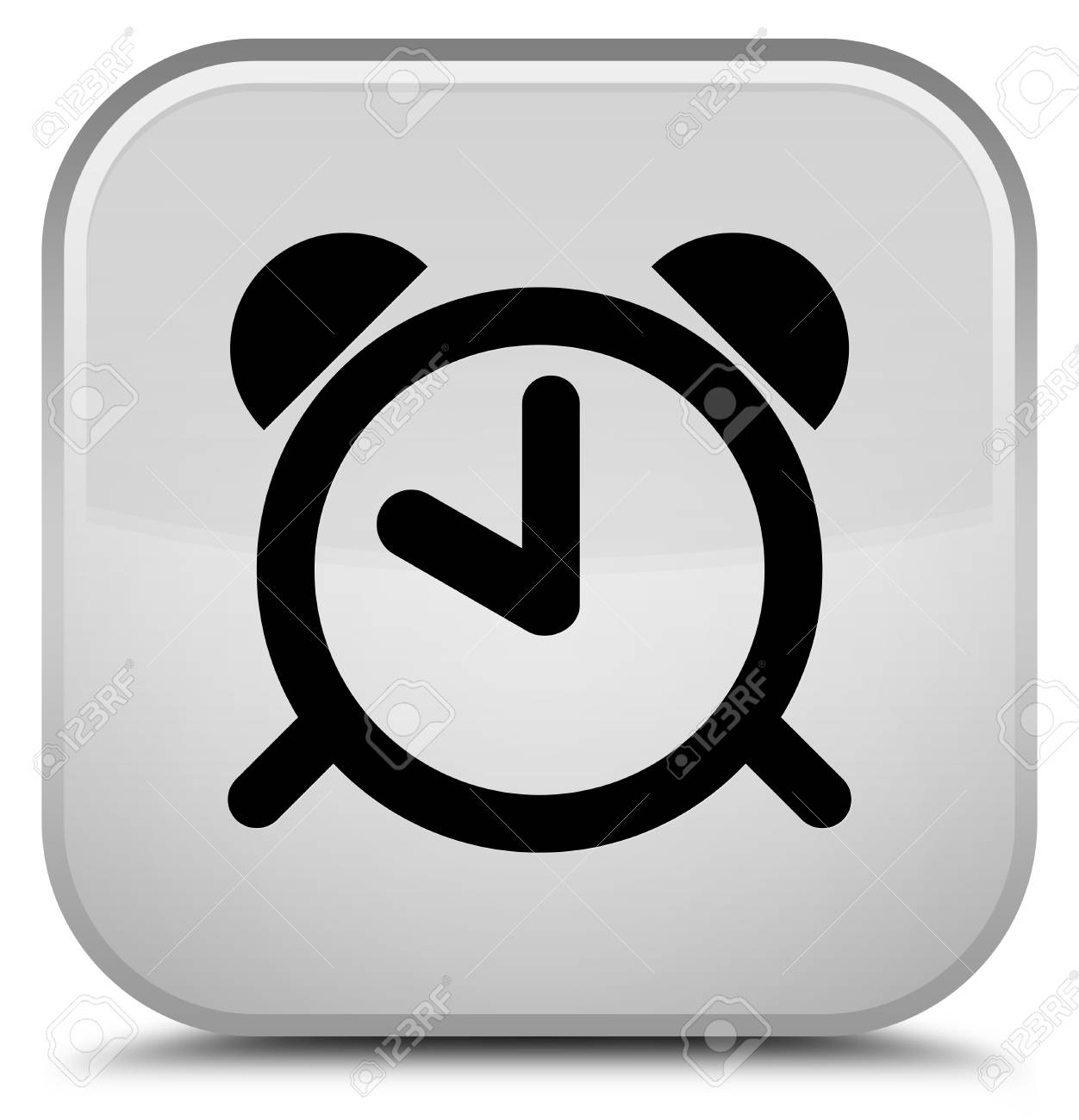 Special Clock Alarm Clock Icon Isolated On Special White Square Button Abstract