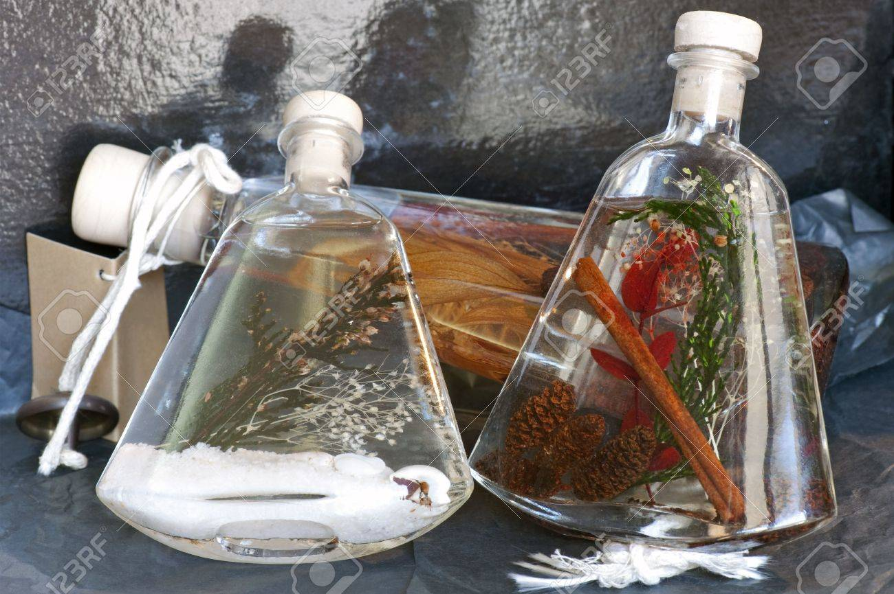 Stock photo three ornamental bottles with perfumed fluid