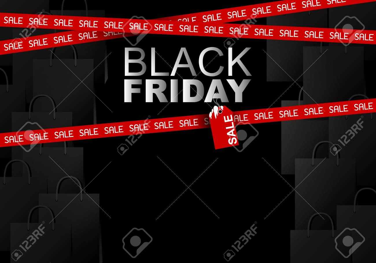 Black Sale Black Friday Sale On Shopping Bag Background Vector Illustration