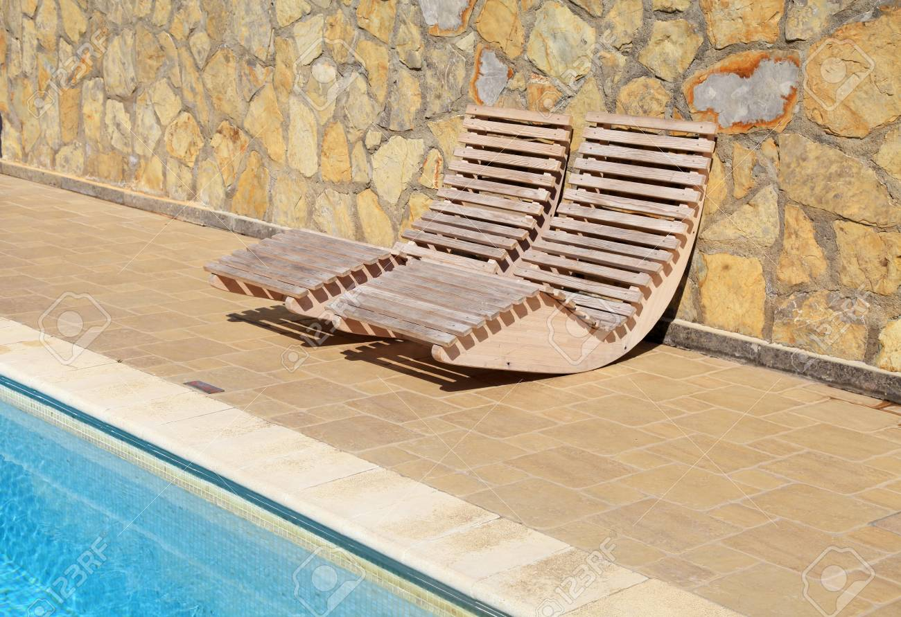 Pool Terrasse Holz Stock Photo