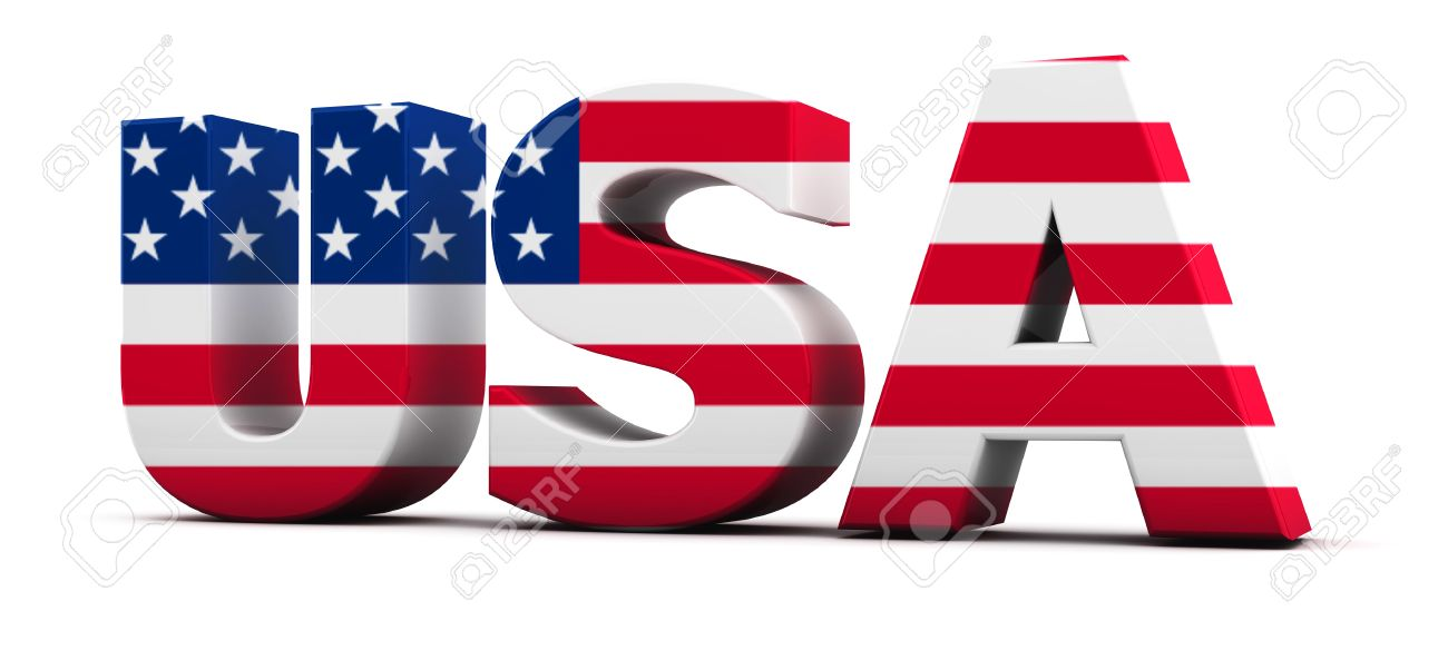 Usa Word To The Flag In 3d Stock Photo, Picture And Royalty Free - word flag
