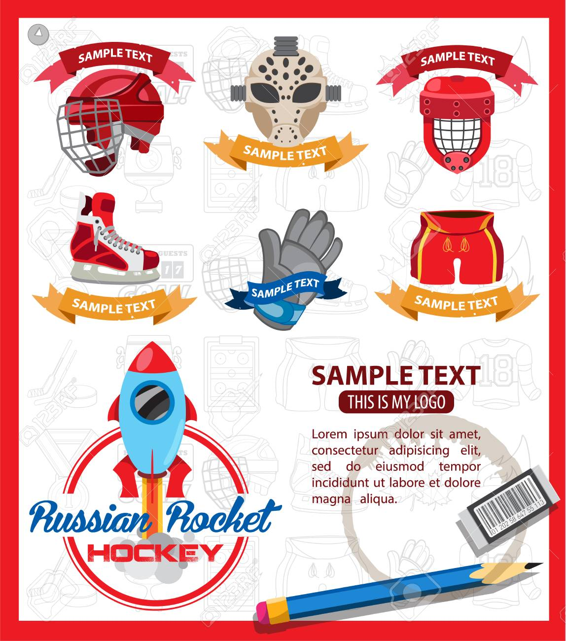 Hockey Logos Ice Hockey Logos With Ribbon Vector Set Of Logos
