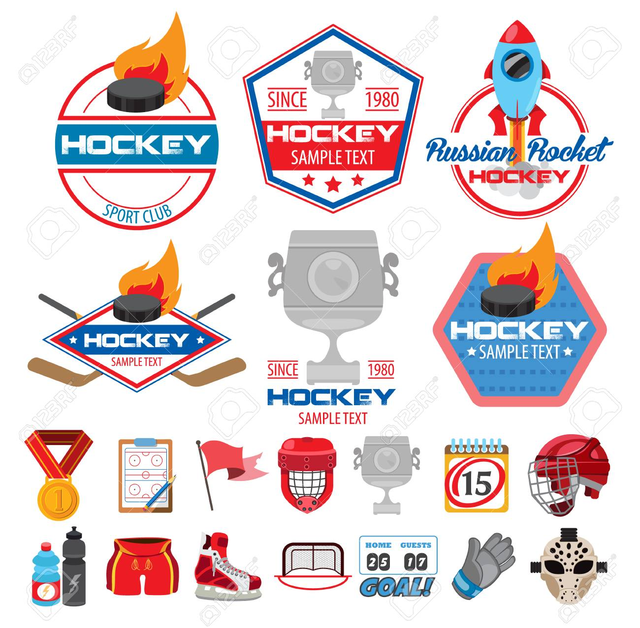 Hockey Logos Ice Hockey Logos Icons Labels Badges And Design Elements
