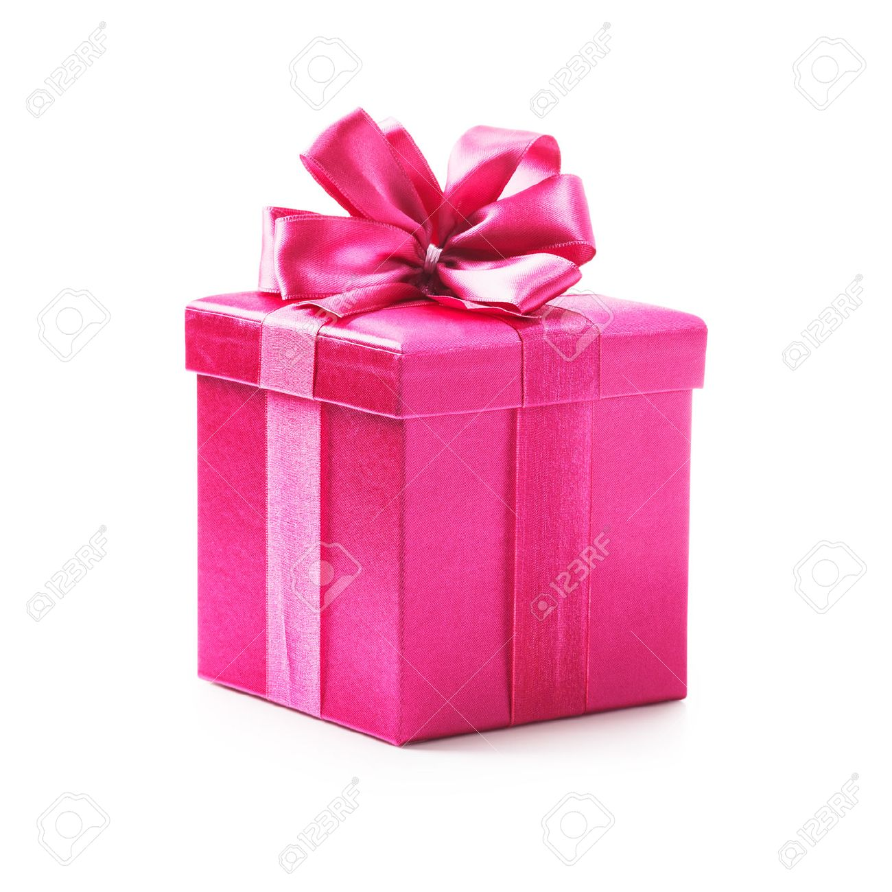 Gift Box Pink Gift Box With Ribbon Bow Holiday Present Object Isolated
