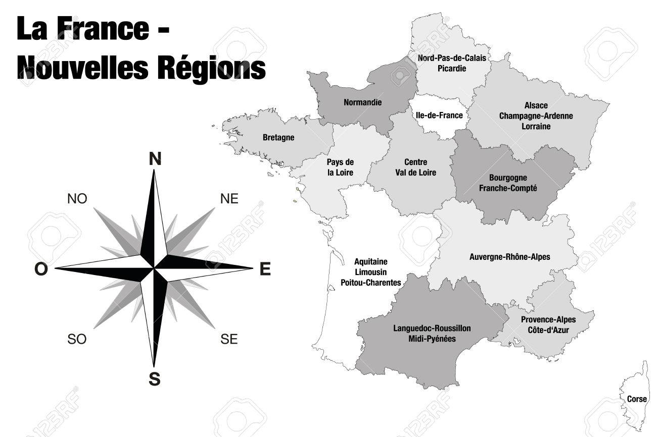 Regions De France Final Version Of New Regions Of France Illustration Isolated