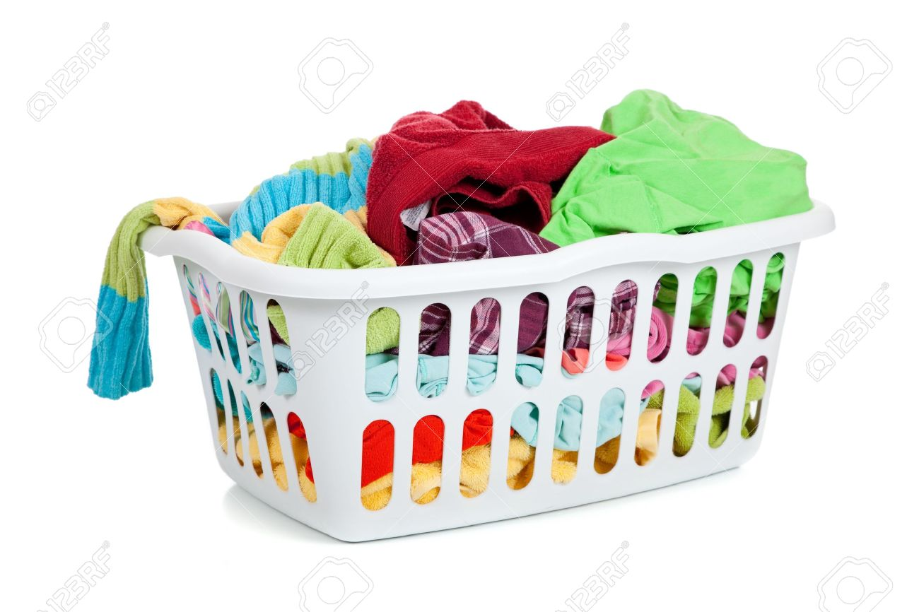 Dirty Laundry Baskets A White Basket Full Of Dirty Laundry On A White Background