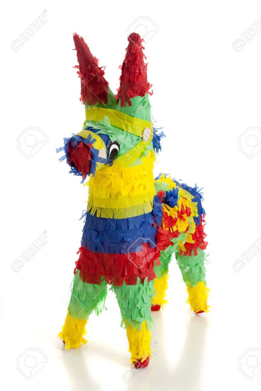 Party Pinata A Traditional Primary Colored Mexican Party Pinata On A White