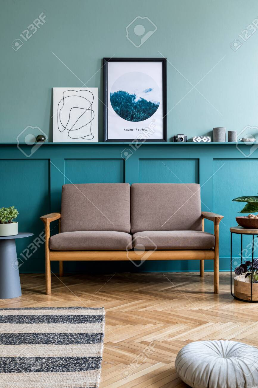 Modern Interior Of Living Room With Brown Wooden Sofa Design Stock Photo Picture And Royalty Free Image Image 150701846