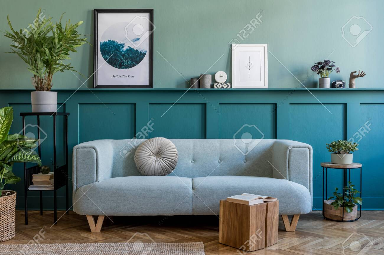Stylish Interior Of Living Room With Mint Sofa Design Furnitures Stock Photo Picture And Royalty Free Image Image 150701857