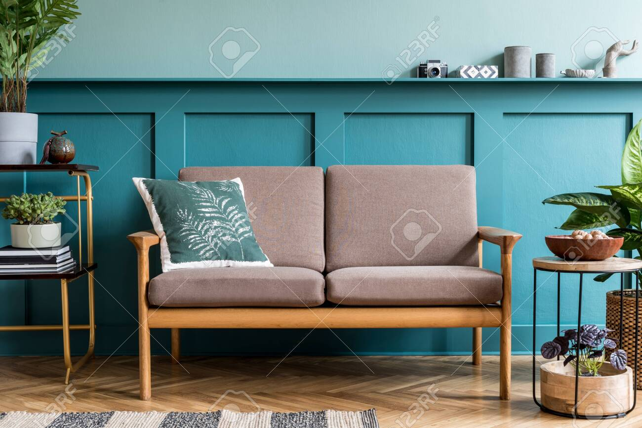 Stylish Interior Design Of Living Room At Cozy Apartment With Stock Photo Picture And Royalty Free Image Image 150701553