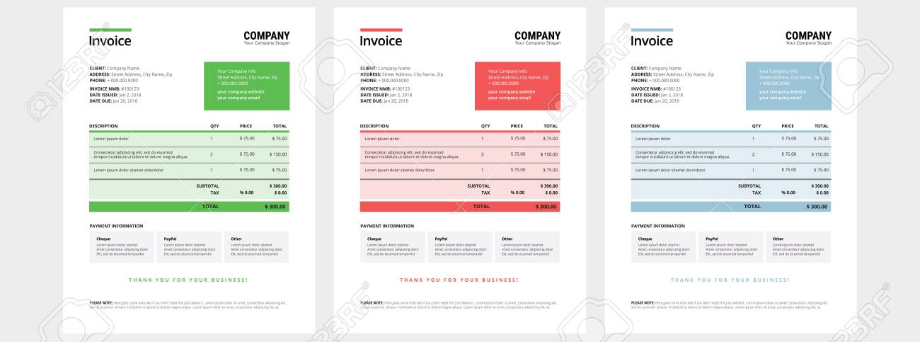 Invoice Design Template Set - Business Company - Green, Red