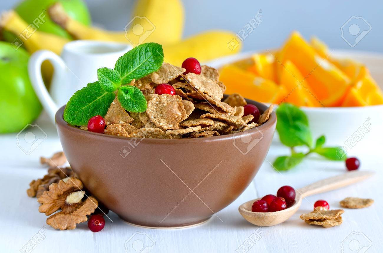Bowl For Fruit Multi Grain Flakes In A Bowl For Light Healthy Breakfast With