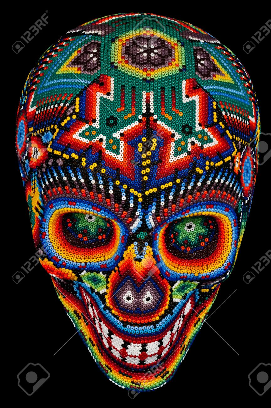 Arte Huichol Mexico Colorful Beaded Skull From Mexican Traditional Huichol Bead Art