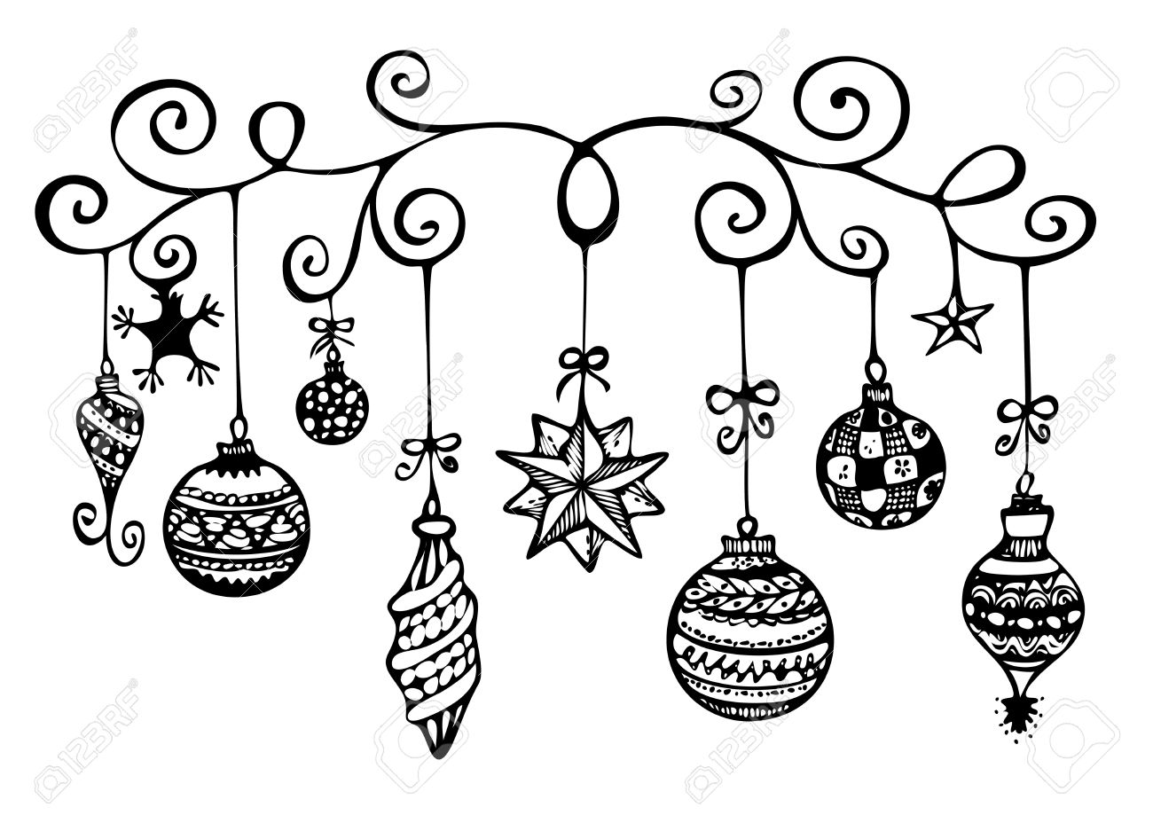 Christmas ornaments sketch in black and white stock photo 16979852