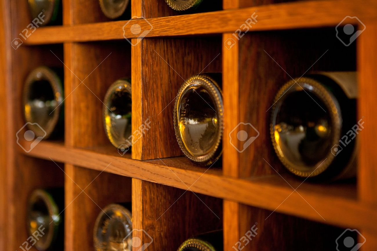 Wooden Bottle Rack Wine Bottles Rack Wooden Wine Rack In The French Restaurant