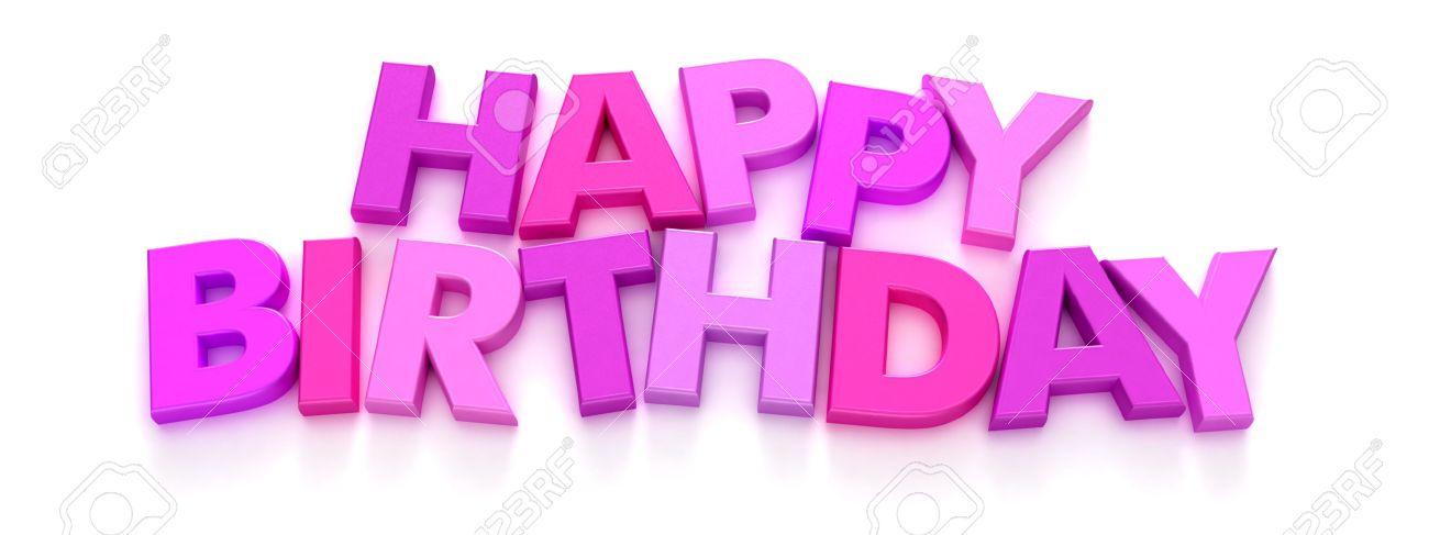 Feliz Cumpleaños Formado Con Rosa Y Púrpura Letra Mayúscula Imanes