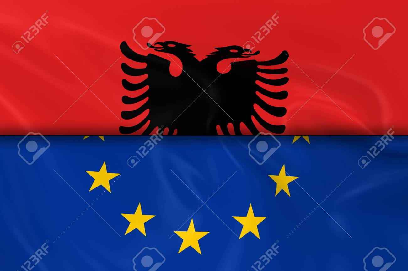 Split Wit Flags Of Albania And The European Union Split In Half 3d Render