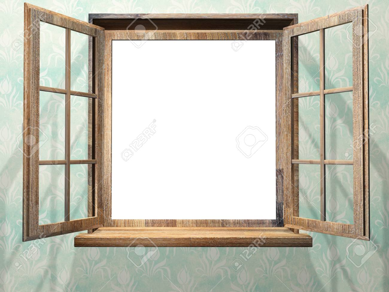 3d Open Open Wooden Window 3d Render