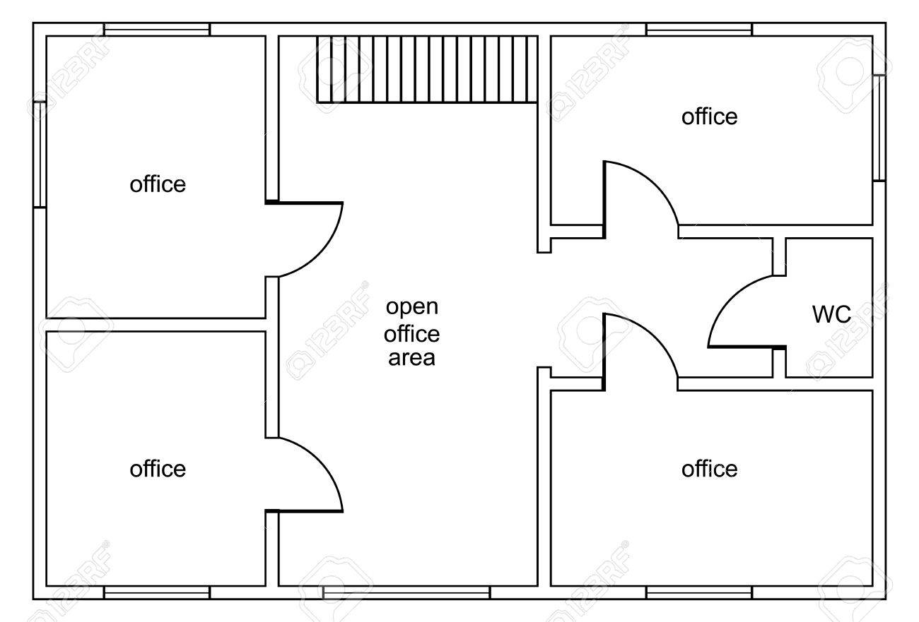 Wc Plan Abstract Vector Plan Of Office Building With Four Offices Open