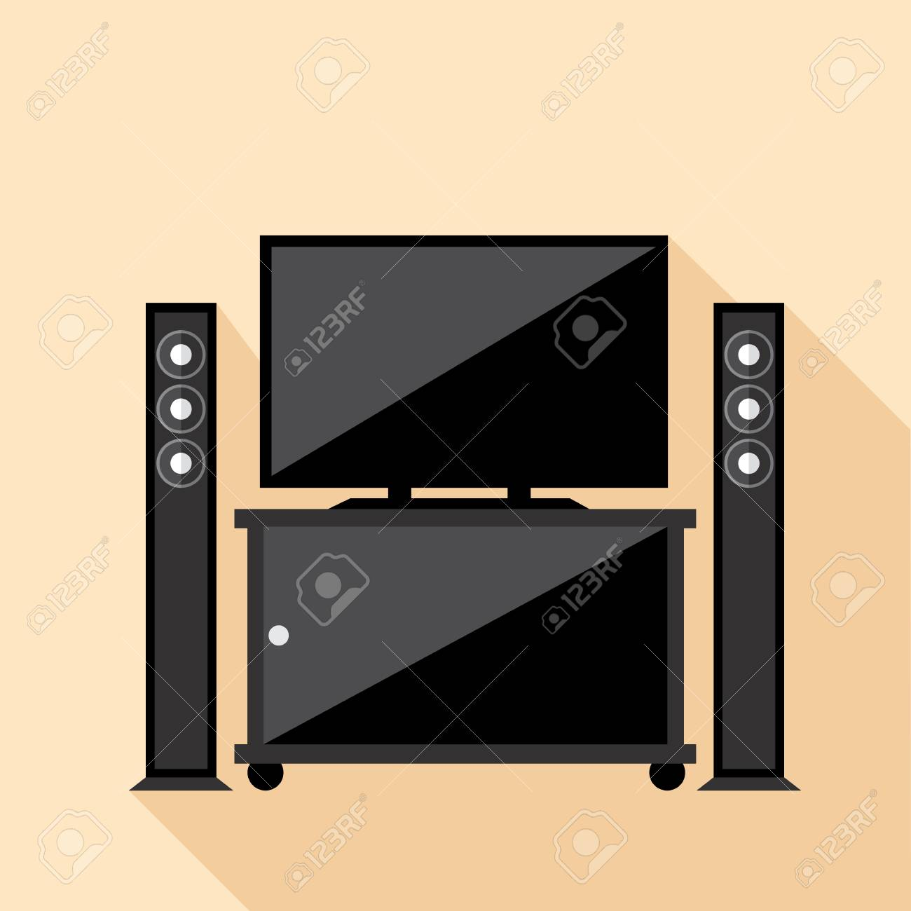 Hi Fi Tv Digital Vector Hi Fi Audio System With Monitors And Tv Set With