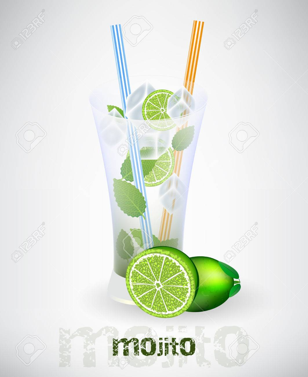 Mojito Glas Glass Of Mojito And Drinking Strew With Lime And Ice Cubes