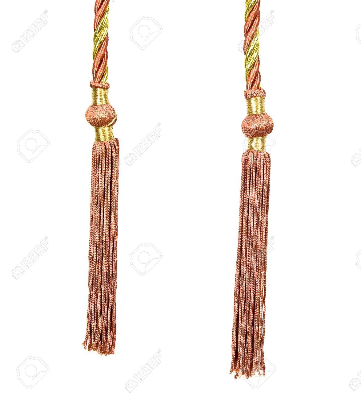Rope Curtain Two Tassels And Rope For Curtain Isolated On White Background With