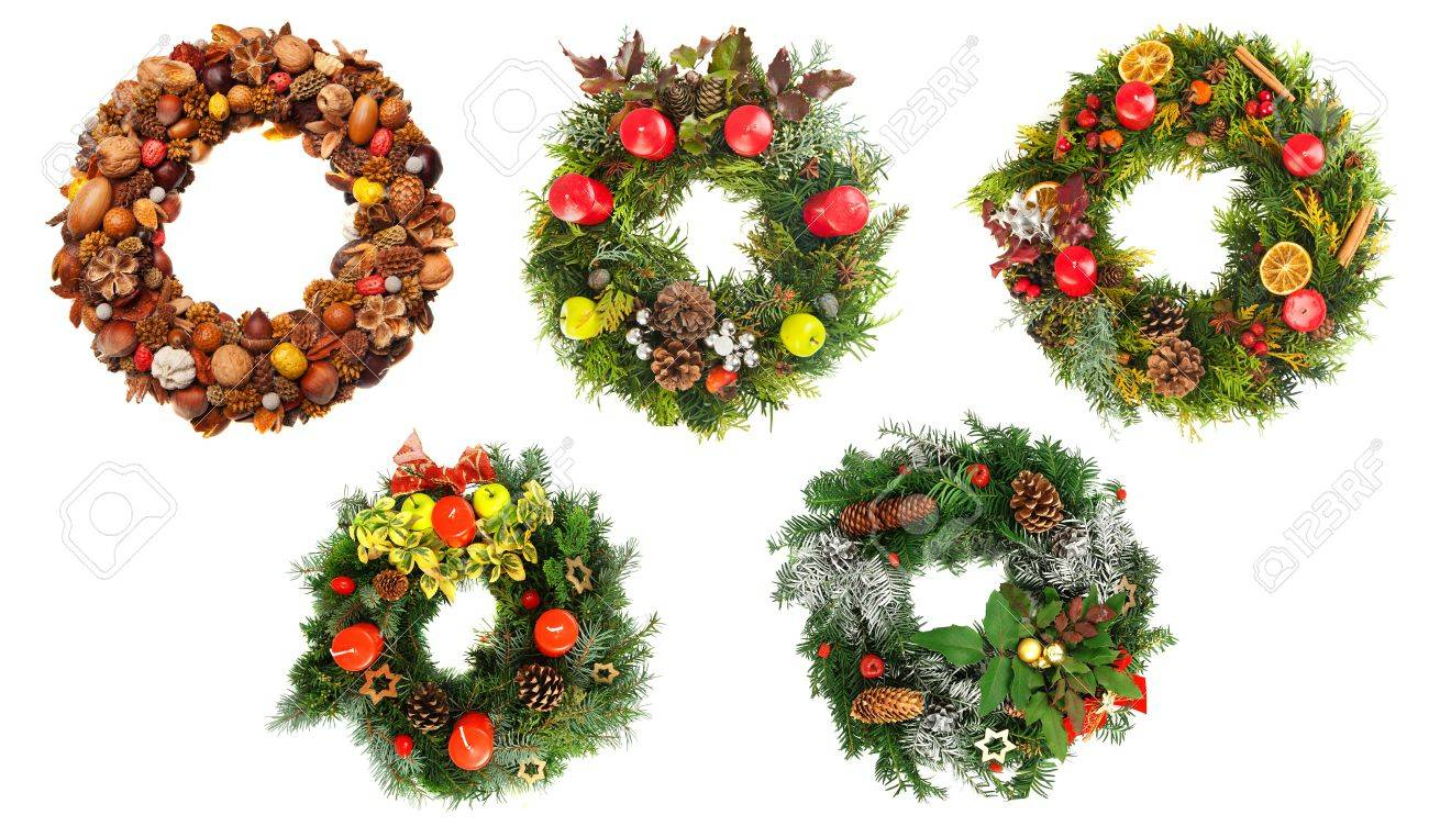 Schöne Adventskränze Stock Photo