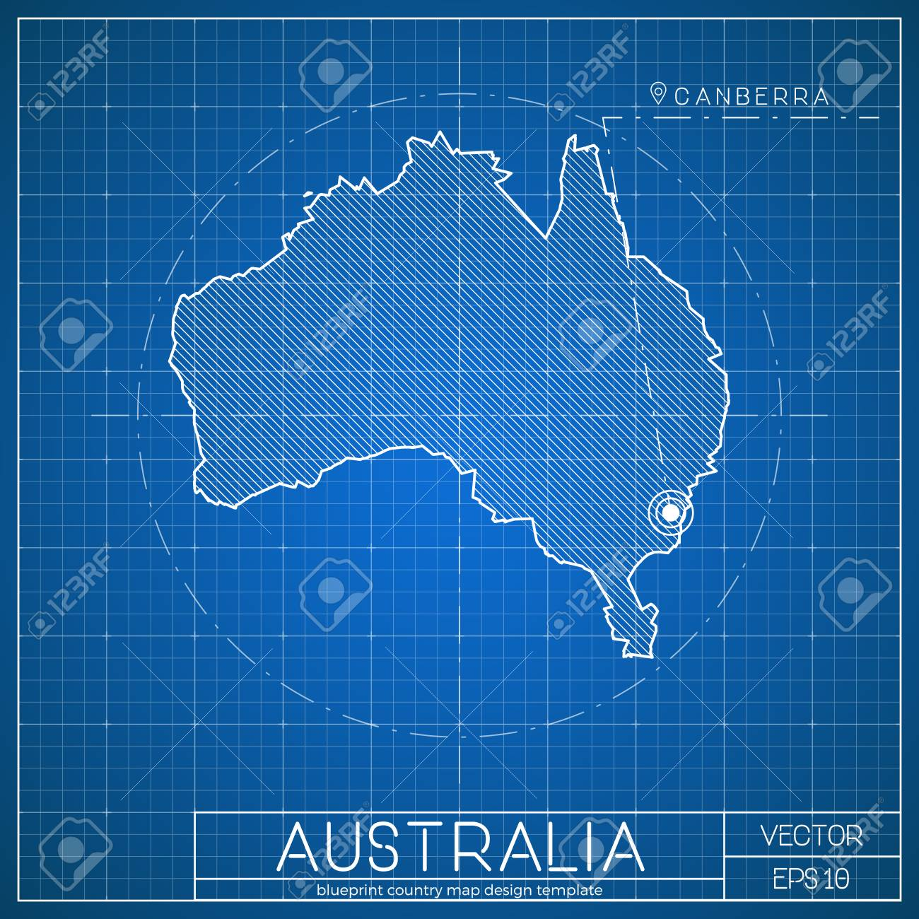 Map Of Canberra Australia Blueprint Map Template With Capital City Canberra