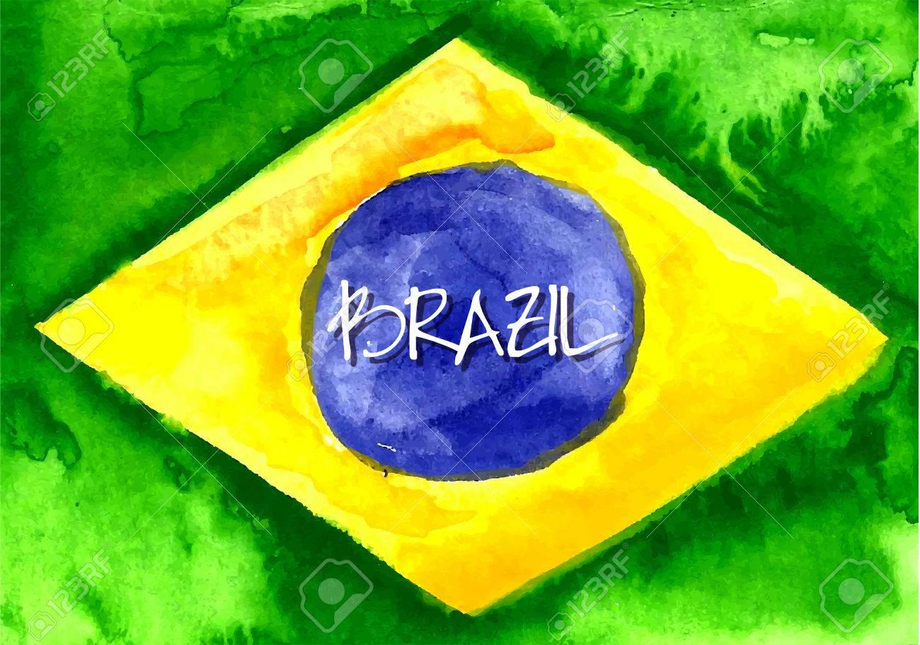 Handmade watercolor brazil flag background stock vector 39044110