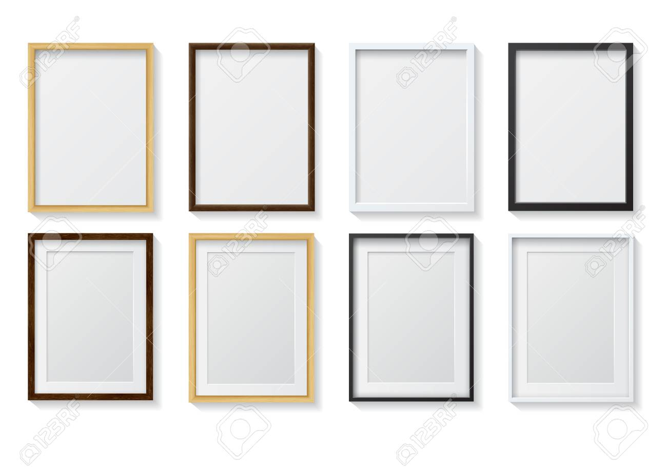 Set Of Realistic Light Wood Blank Picture Frames And Dark Wood Royalty Free Cliparts Vectors And Stock Illustration Image 49426933