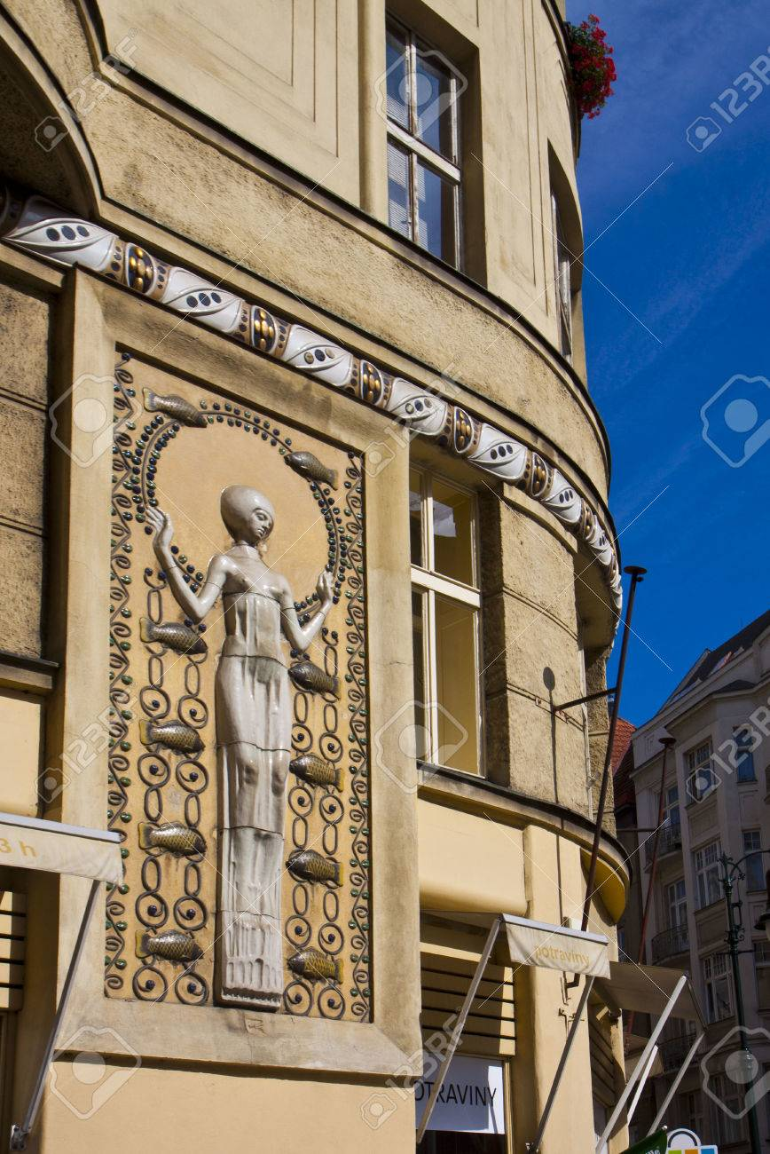 Decoration Art Deco Art Nouveau Palace In Prague Center Detail Of Bas Relief And