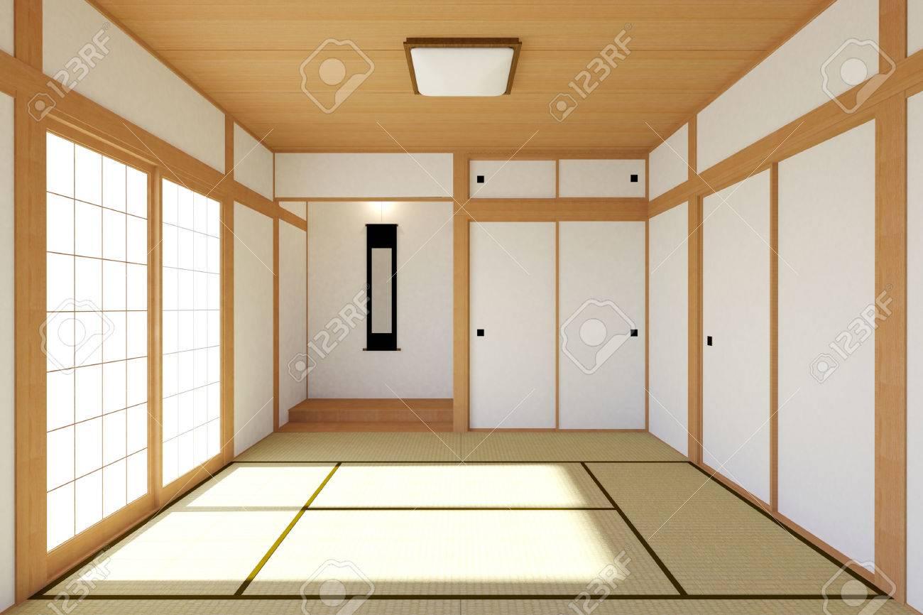 Empty Japonais Salon Intérieur Dans La Conception Traditionnelle Et  Minimale Avec Plancher De Tatami Et La Porte Japonaise Shoji Chambre Vide