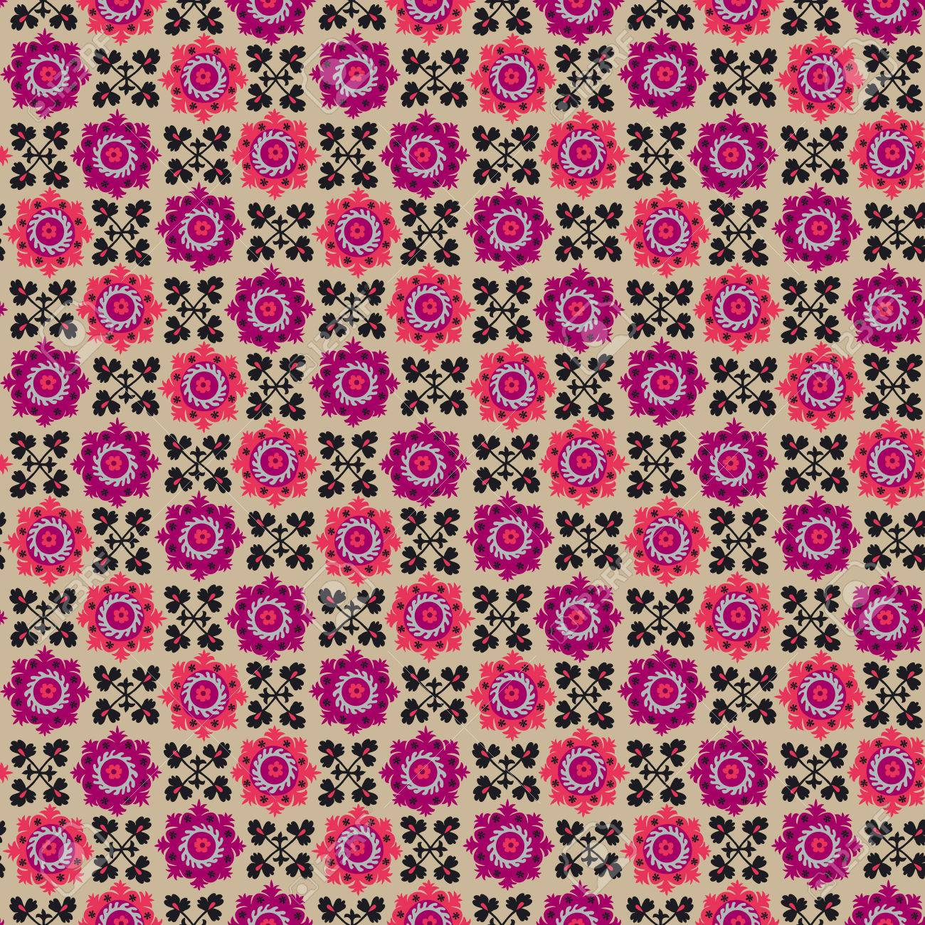 Asian Carpet Traditional Asian Carpet Embroidery Suzanne In Pink And Black