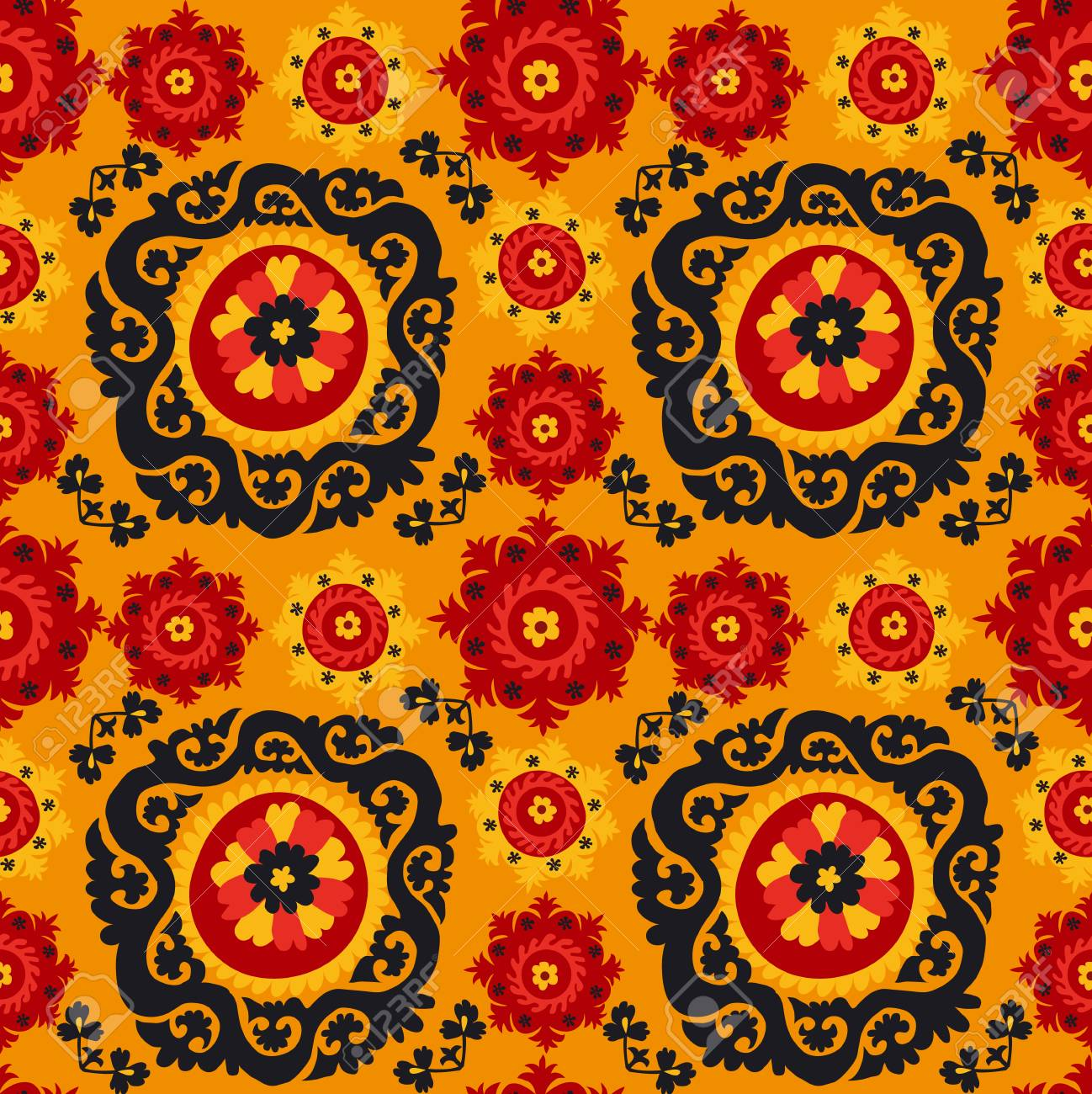 Asian Carpet Black Red And Orange Traditional Asian Carpet Embroidery Suzanne