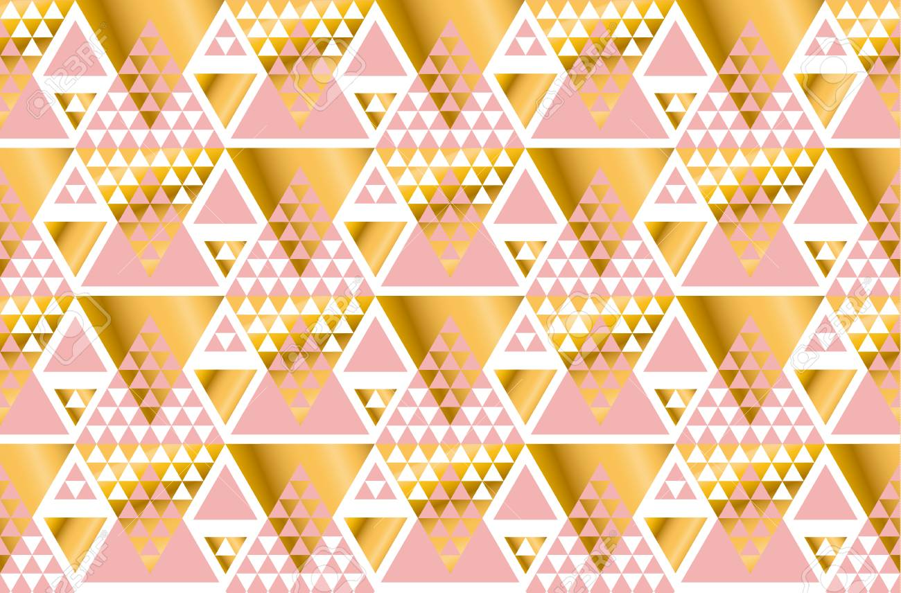 Art Nouveau Yellow Geometry Triangle Pattern Gold Stylized Vector Illustration