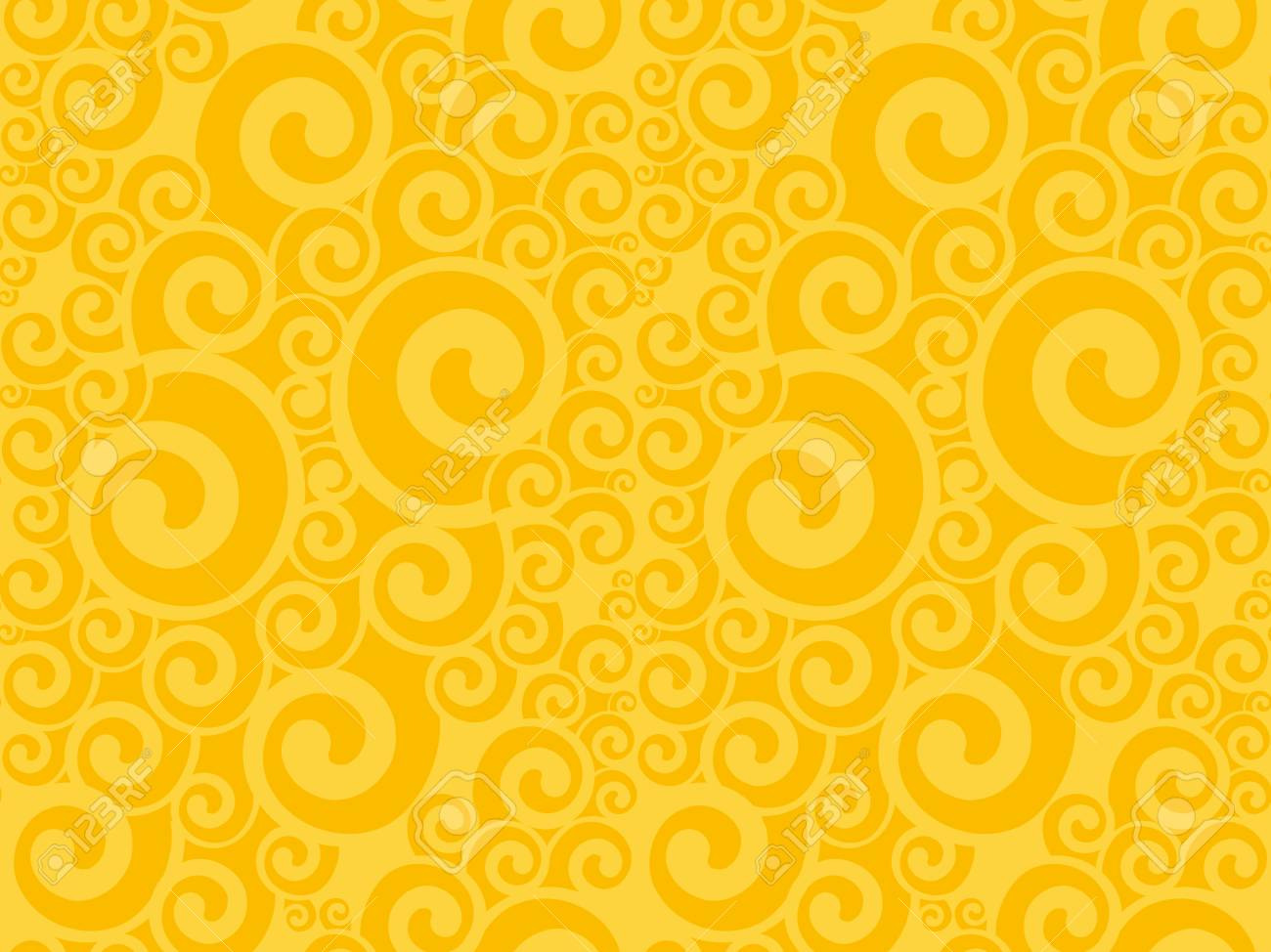 Art Nouveau Yellow Art Nouveau Swirl Seamless Pattern Yellow Abstract Geometry