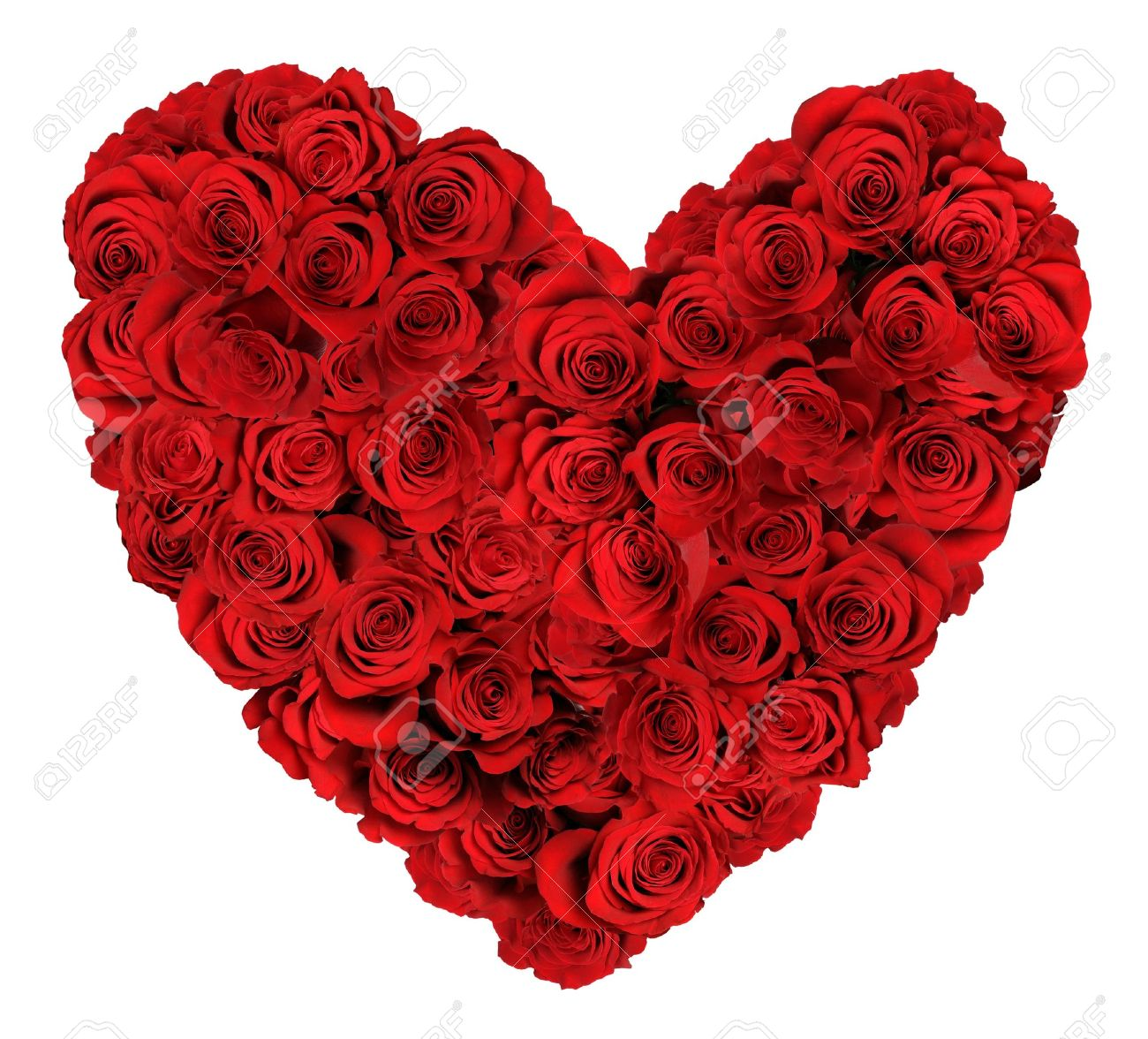 Image De Rose Heart Shaped Bouquet Of Red Roses Isolated Over White Background